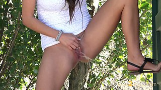 Sweet and sporty brunette teenie doesn't make it till the toilet