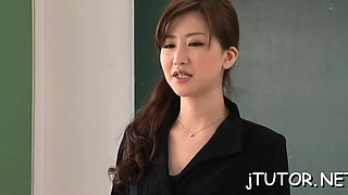 Super horny teacher jerks off wang and gets fucked hard
