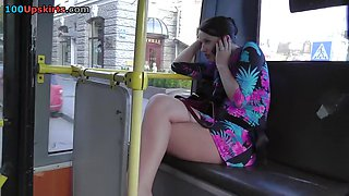 Posh upskirt cutie in a bus