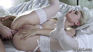 Stockinged babe has anal