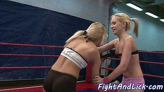 Wrestling amateur lezzies queening each other