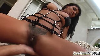 Black chick with a piercing in her clit gets a hard pounding