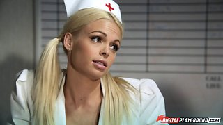 Hot nurse in white heels and lingerie fucks a big cock guy