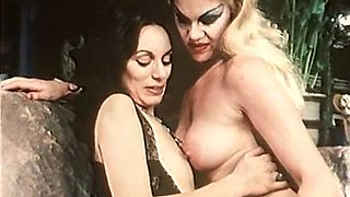 Blonde and brunette white whores sucking one cock together