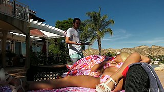 Appetizing curvy blondie Luna Star gets oiled and mouthfucked outdoors