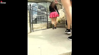 Amateur girl with hot legs and a perky ass upskirt in public