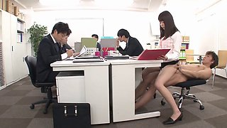 Sensual Japanese secretary fucking guys at work