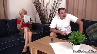Horny parents seduce their son\'s GF