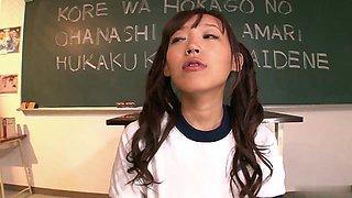 Brunette student sucks her teachers cock