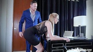 Small tits Alexa Grace giving dick blowjob in the office