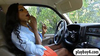 Huge boobs ghetto milf screwed by big dick in the car