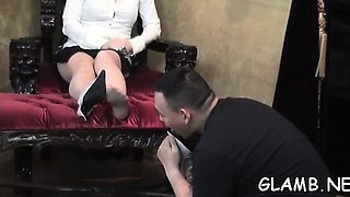 Glamour sweethearts fuck slave's throat with feet and toys