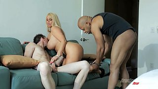 Karen Fisher is nailed by a black monster cock as her man watches