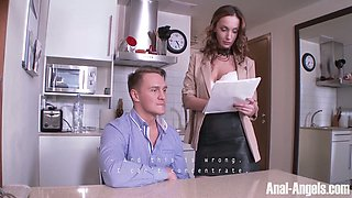 Sex-appeal chick Hazel Dew gives her head before a steamy anal pounding