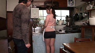 Bosomy Japanese housewife gets her pussy properly drilled