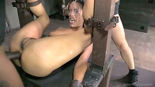Nasty brunette slave gets her face covered with sperm