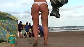 Flawless cameltoe on a beach pussy