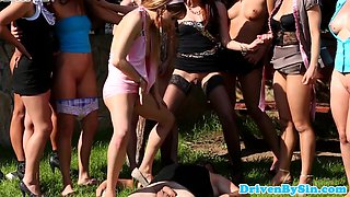 Femdom orgy babes piss on blinfolded male sub