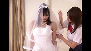 Asian Schoolgirl Sits on Bride Teacher Face
