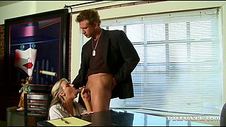 Buxom blond secretary Carolyn Reese sucks her boss off right in the office