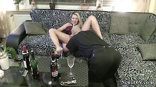 Neighbour seduce german milf to fuck with wine tasting