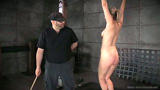 Voluptuous blonde hottie gets brutally spanked by her kinky master