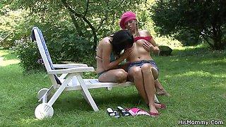Busty mature mom fucks Czech teen outdoor