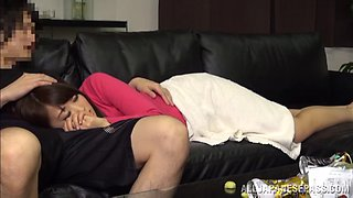 Asian babe's fucked silly by her man in the living room