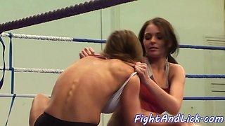 Faketit lezzie wrestling with roundass babe