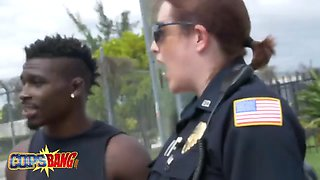 lucky black stud getting involved in hot and hardcore threesome with female cops!