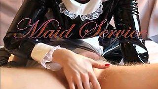 Latex Maid Sucks on a Guy's Dick
