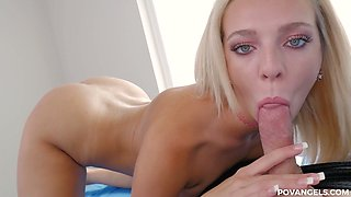 Gorgeous busty blonde Tiffany Watson give a titjob and a great blowjob