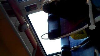 Voyeur train video clip of two hot brunettes