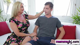 Busty blonde MILF gives her son an amazign blowjob
