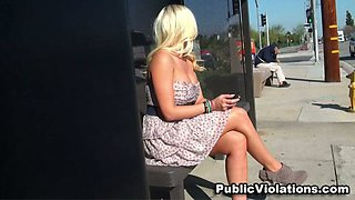 Sizzling hot and sassy amateur blonde bimbo on the bus stop