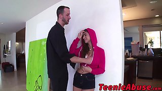 Busty slutty teen Nina North used and abused by monster dick
