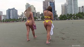 Sexy South American bikini babes leave the beach and fuck