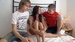 18 YO girl sandwiched by two boys