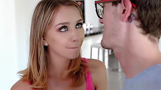 Horny sister welcomes her big stepbro