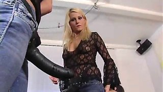 lady natalie black in double strap-on trouble