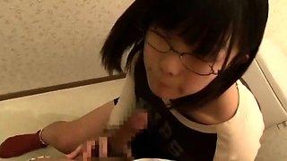 Nerdy Asian schoolgirl gets her hairy pussy toyed and fucked