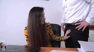 Sexy secretary in stockings Victoria J gets double penetrated in the office