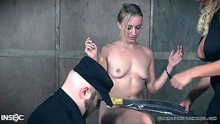 blonde milf slave pisses over caged babe