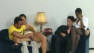 Smoking hot sex slaves are getting double penetrated by their bosses