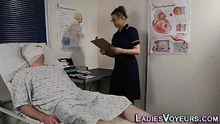 Fetish nurse watches guy