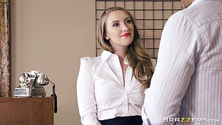 Young professional brunette gets a mouth full at the office