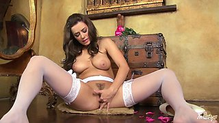 Smoking Brunette Bride Masturbates As She's Wearing White Lingerie