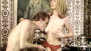 Blondie and redhead Euro sluts share one man for vintage threesome