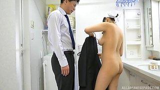 Busty Japanese nurse Tsukimoto Ai receives cock and cum on huge tits