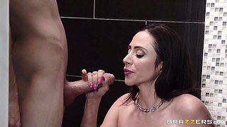 busty colombian milf ariella, sucks off a massive dong in the shower